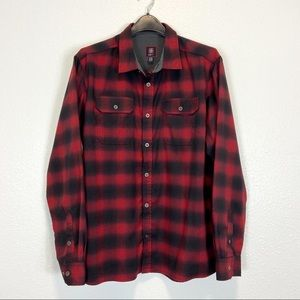 Swiss Tech Performance Red Black Plaid Button Up
